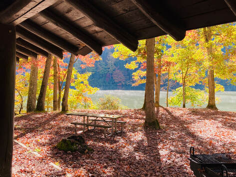 picnic shelter by lake with fall colored trees