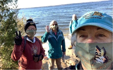 photo of four people on a beach, wearing masks with the Virginia Master Naturalist program logo