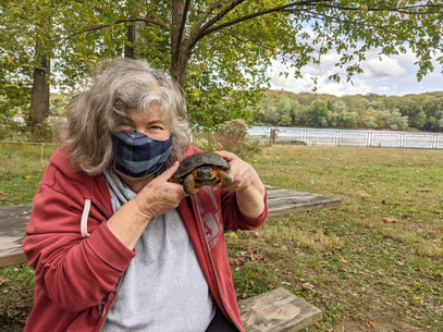 Photo of a woman in a park, holding a turtle